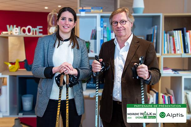 Jean-Paul Babey, Directeur Général d'Alptis, et @Annabel Lascar-Kam, Organisatrice de Nordic Walkin'Lyon, jeudi 5 mars 2020.